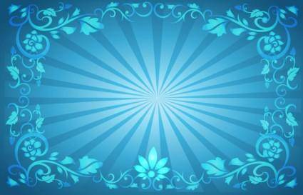 free vector Flower Frame Sunburst Background