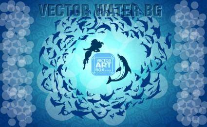 free vector Dolphins Water Background