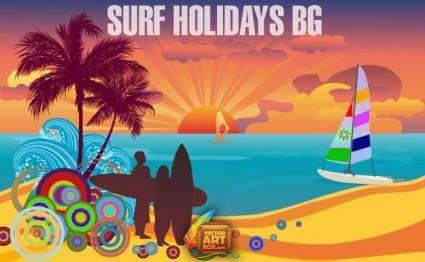free vector Surf Holidays Background