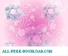 free vector Pink flowers background