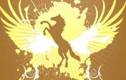 free vector Golden Horse background vector