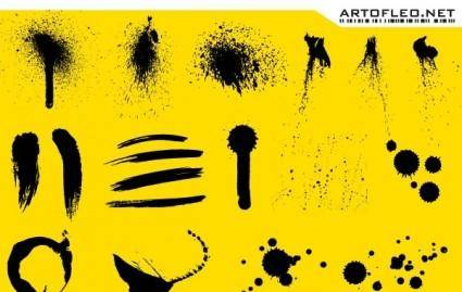 Stroke, ink and spray free vector on yellow background
