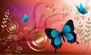 Red Background, Flowers and Blue Butterfly Graphics Vector Design