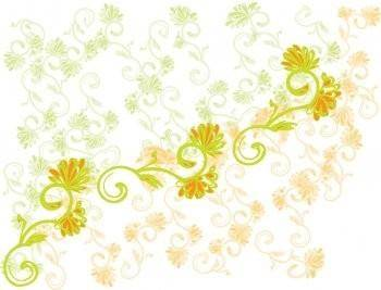 Yellow and Green Flower Vector Background, Adobe Illustrator Flower Design