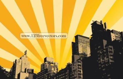 free vector Sunrise Illustration Background Building