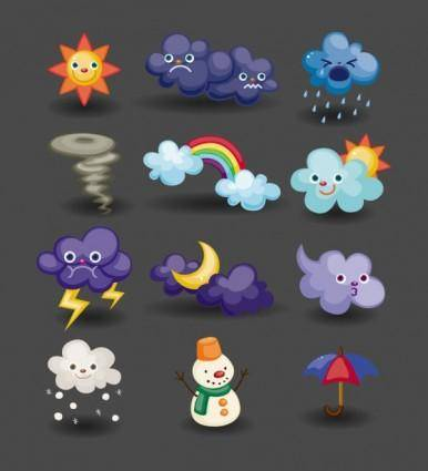 Cartoon weather icon 04 vector