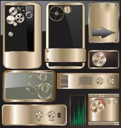 free vector Exquisite metal icon 01 vector