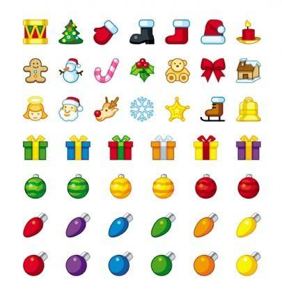Cartoon christmas icons vector