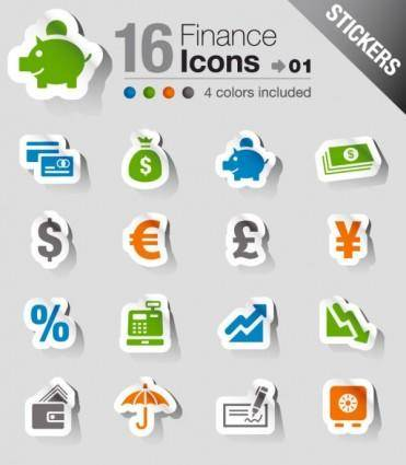 free vector The beautifully financial icon labels vector