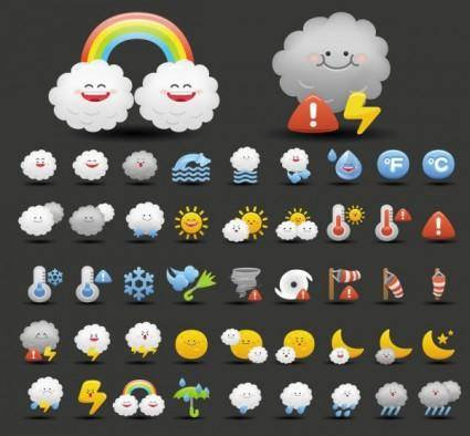 free vector Cartoon weather icon 02 vector