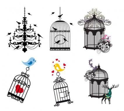 free vector Birdcage theme vector