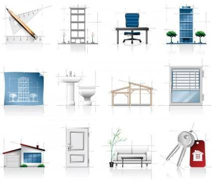 free vector Interior architectural sketches icon vector