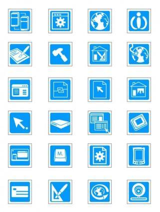 Sophisticated technology blue vector icons vector