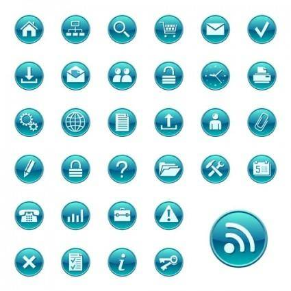 free vector Simple blue circular icon vector