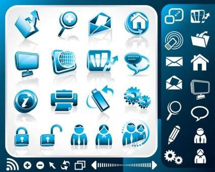 Blue office theme icon vector