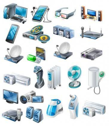 Household appliances icons vector 19014