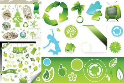 3 sets of green icon vector