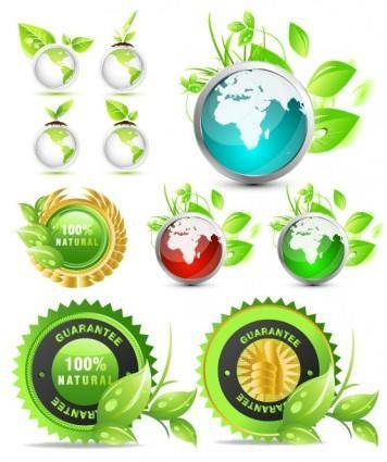 Theme of environmental protection green icon vector