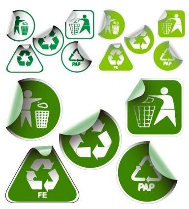 free vector Green sticker icon vector