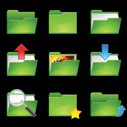 free vector Green folder icon vector