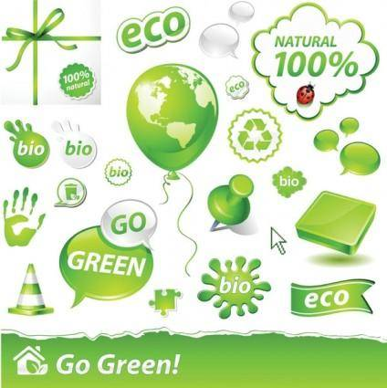 free vector Beautiful green icon vector