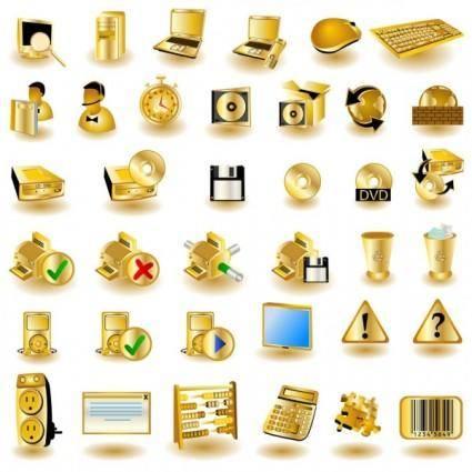 free vector Gold common computer icon 01 vector