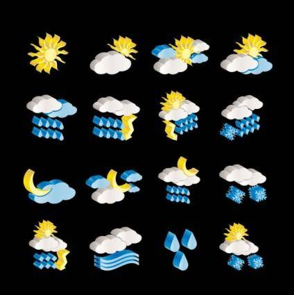 free vector Threedimensional weather icon vector