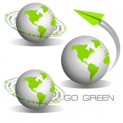 free vector Green earth icon vector