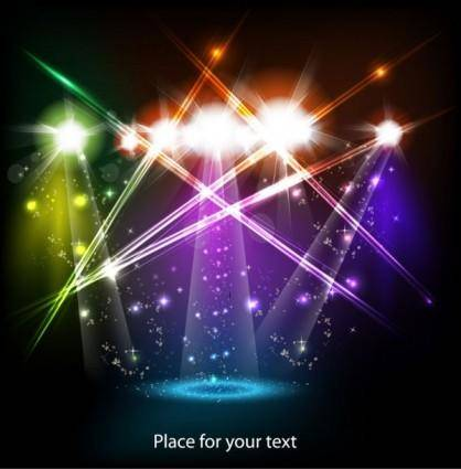 Bright stage lighting effects 01 vector