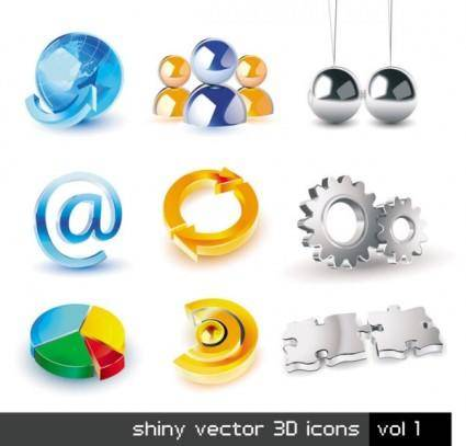 Exquisite threedimensional icon set 01 vector