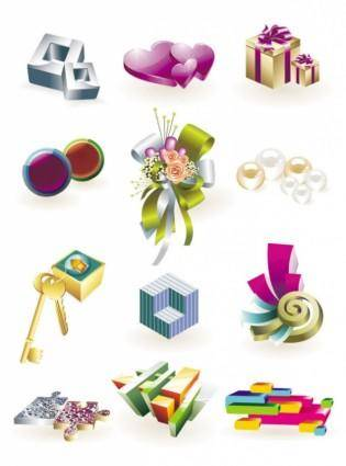 free vector Beautiful threedimensional small icon 01 vector