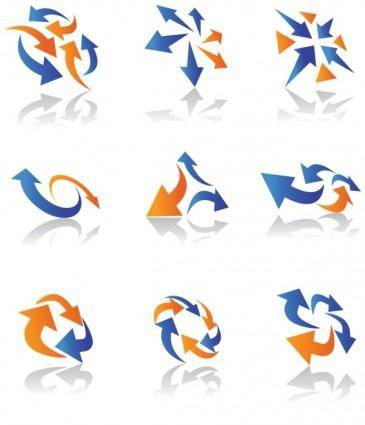 Dynamic arrow icons 01 vector