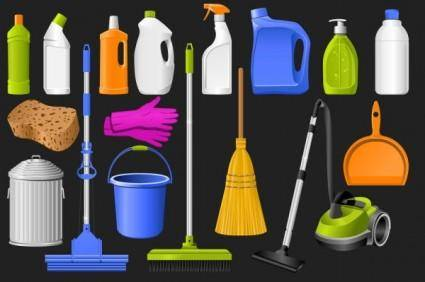 Clean equipment icons vector
