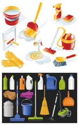 Cleaning supplies icon vector