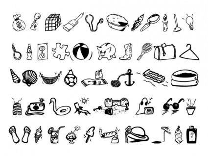 A set of black vector icon daily