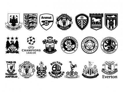 Vector set of black and white icon with football club it im not sure