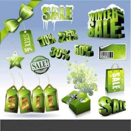 Sales discount green icon vector