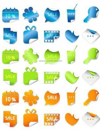 Lovely threecolor stickers vector angular