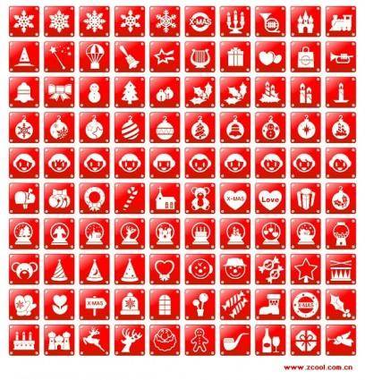 free vector Simple red christmas icon vector