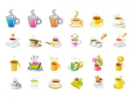 Steaming coffee cup set of vector icons