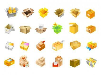 Cardboard boxes of vector icons