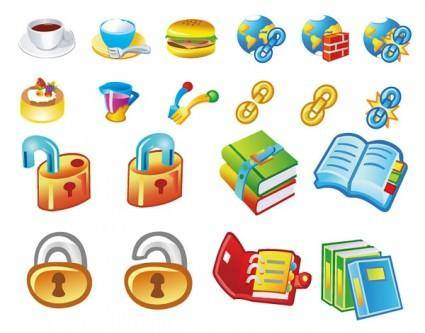 Books and food lock link icon vector