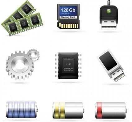 Computer accessories theme icon vector