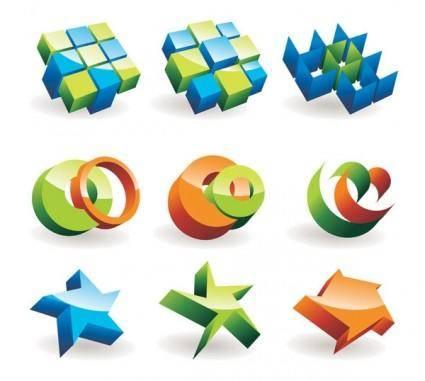 free vector Beautiful threedimensional icon vector