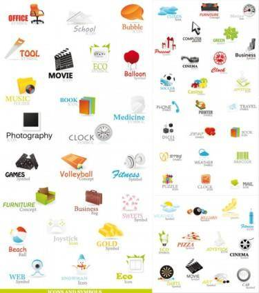 A variety of beautiful icons vector