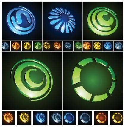 Threedimensional circular vector graphics icon