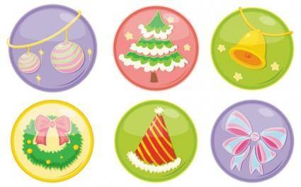 free vector Beautiful christmas ornaments icon vector