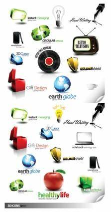 2 sets of beautiful threedimensional icon vector