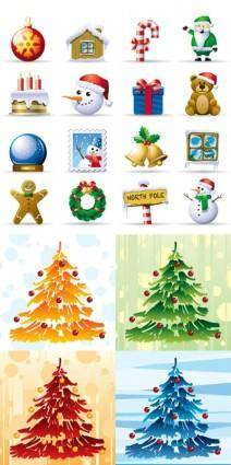Lovely christmas element icons vector