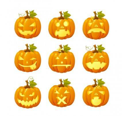 free vector Halloween pumpkin head vector emoticons